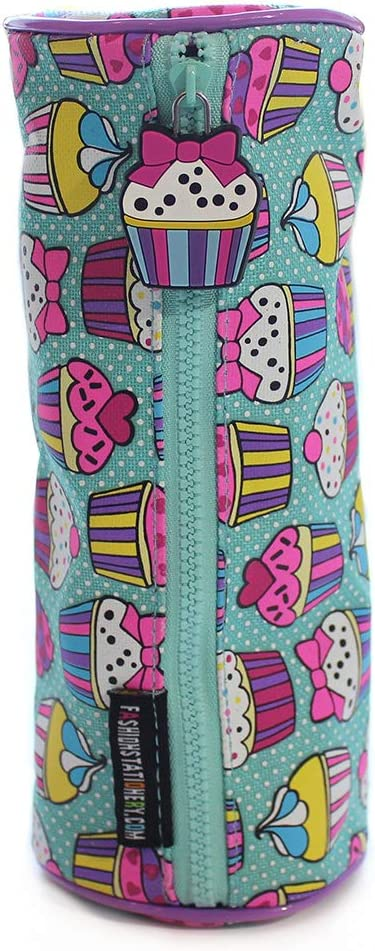 Fashion Stationery Barrel Pencil Cases Cupcake Dotty Girls Kids Childrens Back to School Pencil Case Pouch