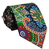 S&W SHLAX&WING Herren Krawatte Paisley Mehrfarbig Rot Grün Gelb Seide Handmade