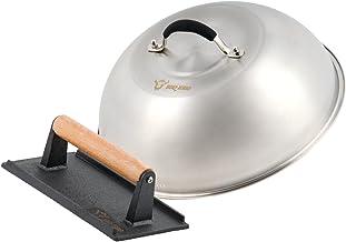BBQ-Toro Cloche chauffante en acier inoxydable avec presse-viande, cloche à hamburger en fonte - Diamètre : 31,5 cm, cloch...