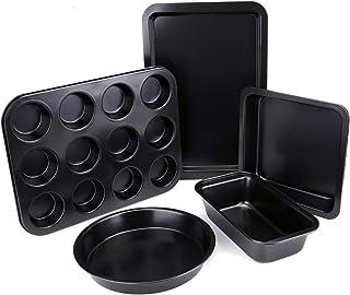 مجموعه پخت ناپلیکی Tebery 5 Pack شامل ورق کلوچه ، تابه لوف ، تابه مربع ، تابه کیک گرد ، قابلمه 12 فنجانی مافین