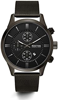 Male Analog-Quartz Watch with Black Strap, Stainless Steel, 22 (Model: RKC0214001)