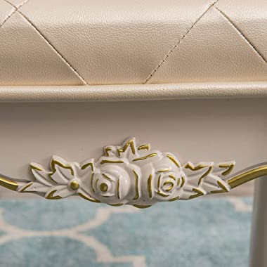 zenggp Dressing Stool Makeup Stool SW Sofa European Leather Stool French Carved Shoes Environmentally Friendly Resin Healthy