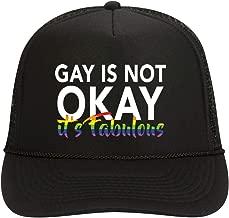 NeeNoNex Gay is Not Okay It's Fabulous Polyester Foam Front Mesh Back Trucker Hat ~ LGBTQ Gay Pride Parade