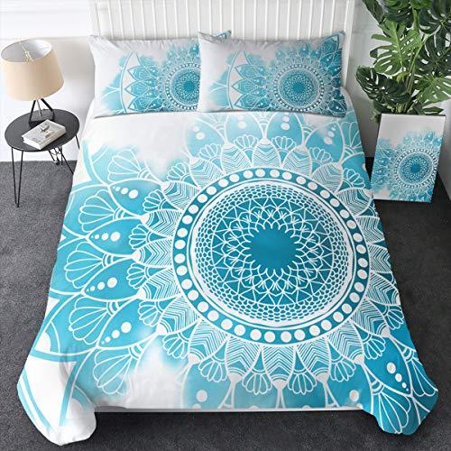 Sleepwish Blue Bohemian Bedding Sea Beach Ocean Soft Watercolor Bedspread 3 Pieces Indian Mandala Duvet Cover (Queen)