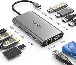 USB C ハブ 11-in-1 USB Type C ハブ トリプルディスプレイ(デュアルHDMI 4K&VGA)ドッキングステーションデュアル 4K HDMI/1080P VGA/PD 100W Type C急速充電 / 1Gbps イーサ...