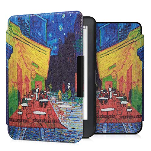 kwmobile Case Compatible with Kobo Clara HD - Book Style PU Leather e-Reader Cover - Café Terrace at Night Blue/Yellow/Orange