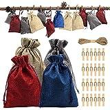 Calendrier de l'Avent 2019, 24 jours de Noël, compte à rebours de Noël, sacs en toile de jute avec cordon de serrage, 24 autocollants avec chiffres, 24 pinces en bois, 10 m de corde de chanvre