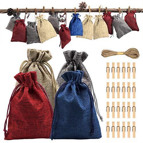 Calendario de Adviento de Navidad 2019, 24 días de Navidad, bolsas de arpillera con bolsa de regalo con cordón, 24 pegatinas con número, 24 clips de madera, cuerda de cáñamo de 10 m