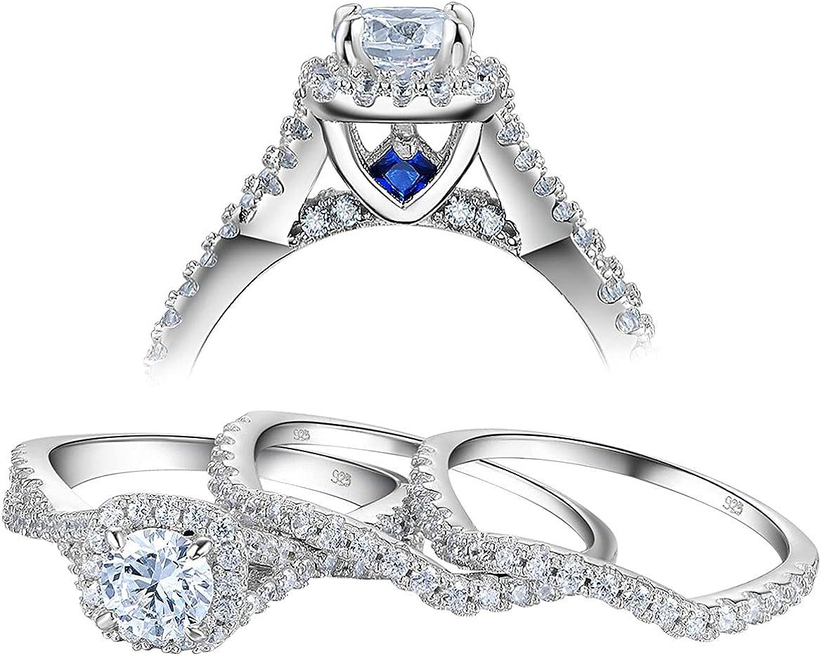 Newshe Engagement Wedding Ring Max Regular store 44% OFF Set Sterling for Women Silver 925