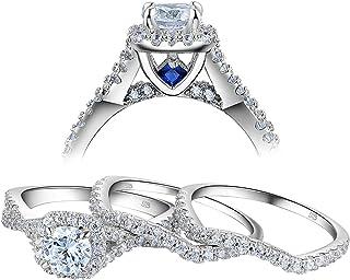 Newshe خواتم زفاف للنساء خاتم الخطوبة 925 فضة استرلينية 3 قطع دائرية بيضاء اللون مقاس 5-10