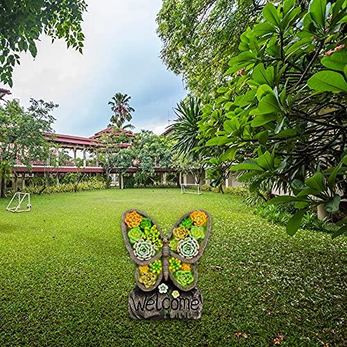 Aprimay Vela solar de resina Ormament con LED sin llama hecho a mano en forma de mariposa duradera para decoración de jardín, estatua de resina al aire libre para decoración de patio