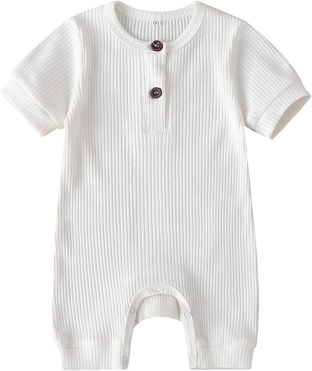 Kuriozud Newborn High order Infant Unisex Baby Max 46% OFF Girl Button Solid Boy Romper