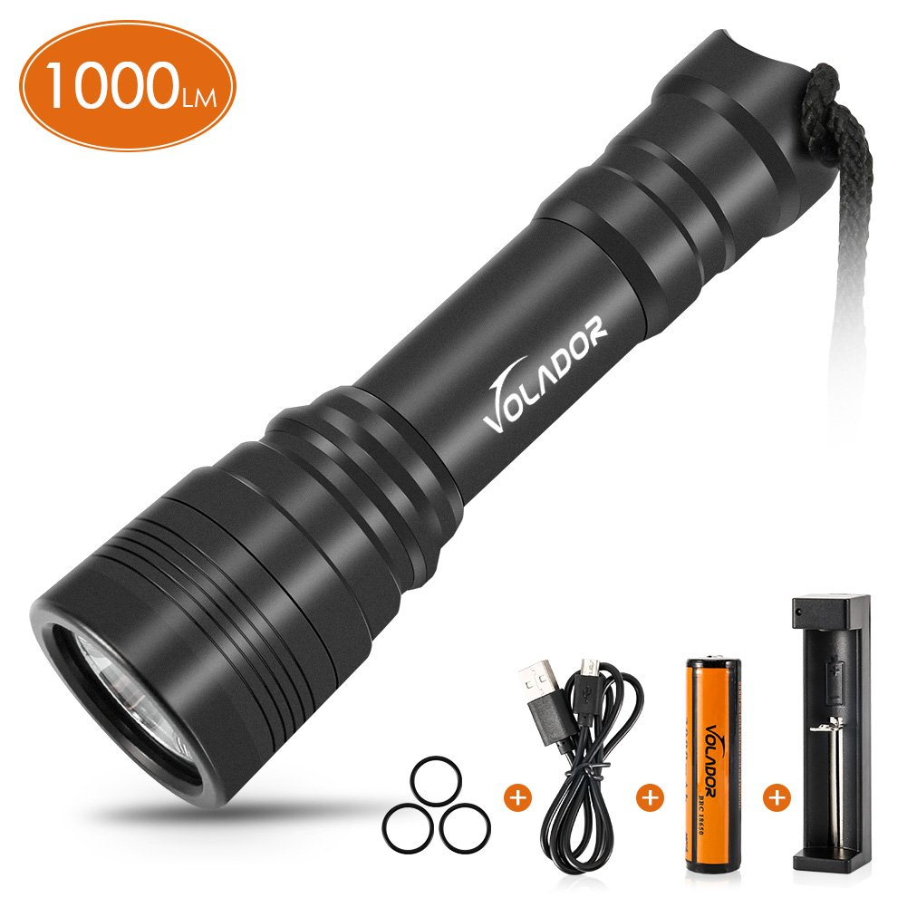 VOLADOR Flashlight Waterproof Rechargeable Submersible