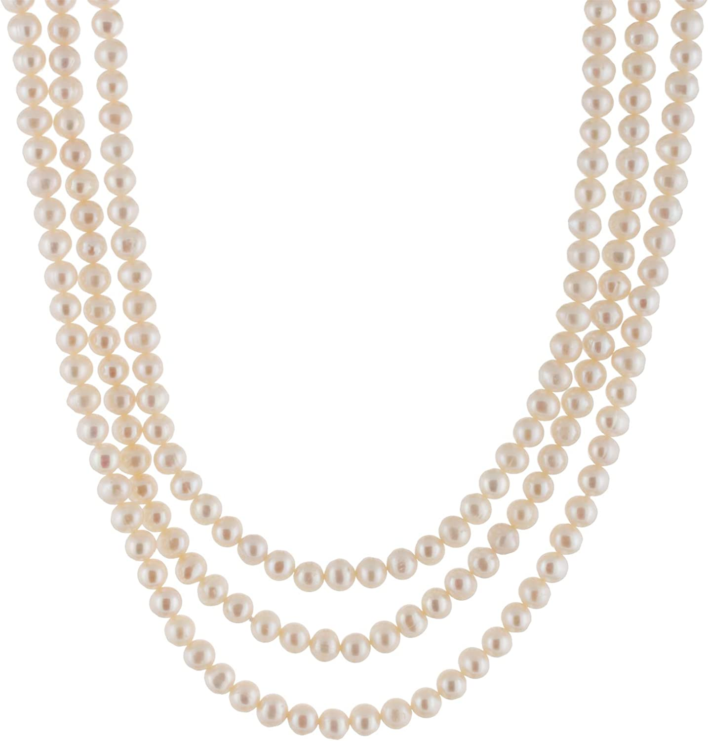 Handpicked A Quality 5-6mm White Cream Freshwater Cultured Pearl Strand Endless Necklace