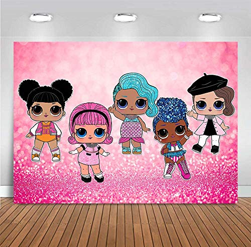 Cartoon Doll Girls Toy Sweet Photography Backdrops Newborn Baby Shower for Children Vinyl Hot Pink Bokeh Glitter Sequin Photo Backgrounds Kids Birthday Party Decoration Dessert Table 5x3ft Photo Booth