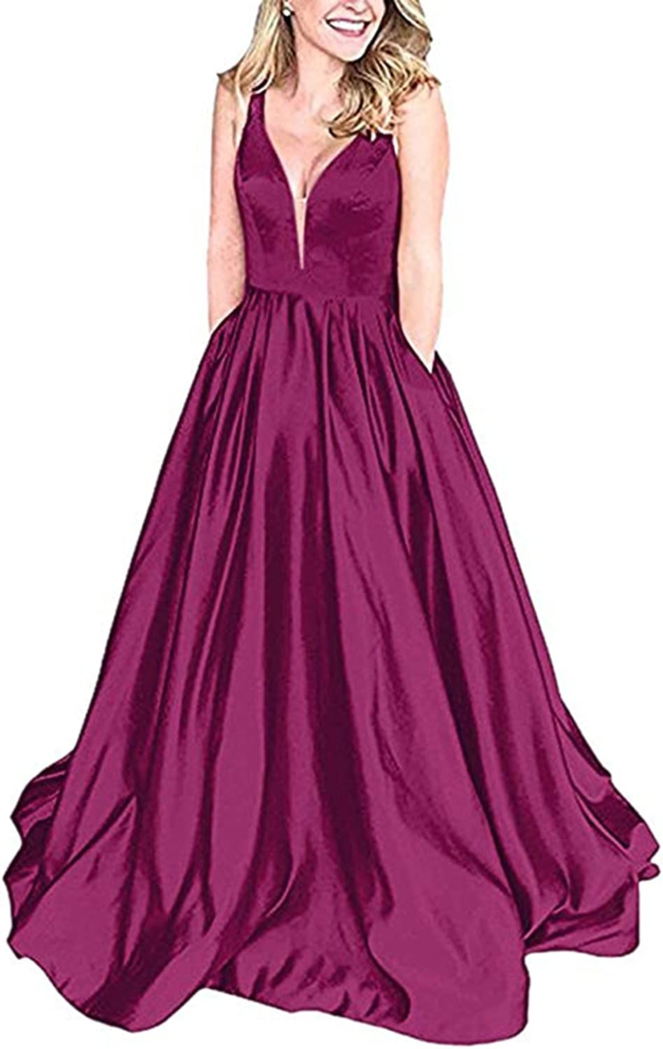 HerDress Women's Deep V Neck Satin Prom Dresses Long with Pockets Aline Formal Evening Party Ball Gowns 2018 Plus Size