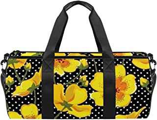 DJROWW Reisetasche aus Segeltuch mit Blumenmuster, Gelb