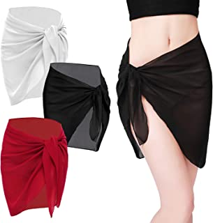 R HORSE 3 Packs Women Beach Wrap Beach Sarong Women Swimwear Black Red White Pure Color Swimsuit Polyester Short Cover up