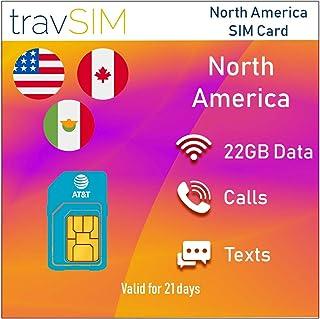 travSIM Prepaid AT&T SIM-kaart voor Noord-Amerika (VS, Canada en Mexico) - 22GB 3G 4G LTE-gegevens Plus *Onbeperkt lokale ...