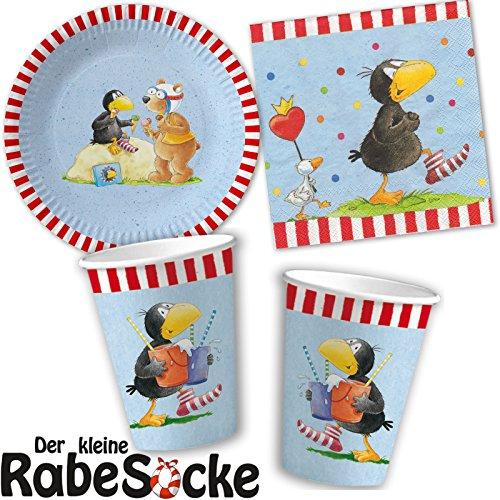 DER KLEINE RABE SOCKE 37-teiliges Partyset Teller + Becher + Servietten + Deko // Kindergeburtstag Kinder Geburtstag Party Mottoparty Luftballons