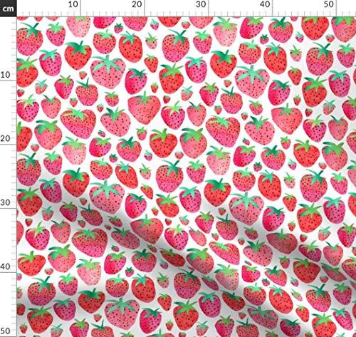 Erdbeeren, Erdbeere, Wasserfarben, Obst, Sommer Stoffe - Individuell Bedruckt von Spoonflower - Design von Emeryallardsmith Gedruckt auf Baumwollstoff Klassik