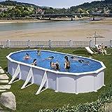 Gre KITPROV738 Atlantis - Piscina Elevada Ovalada, Aspecto Acero Blanco, 730 x 375 x 132 cm