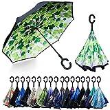 YOKITOMO 長傘 逆さ傘 丈夫 撥水 内外2枚の布の構成で耐風 熱中症対策 完全遮光 遮熱効果 閉じると自立可能 晴雨兼用 車用 (若葉)プレゼント ギフト