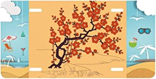 cold master DIY lab Painting Japanese Culture Red Flower License Plate Car Decoration Beach Sea Holiday