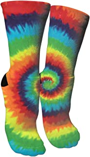 Tie Dye Compression Socks Unisex Printed Socks Crazy Patterned Fun Long Cotton Socks Over The Calf Tube