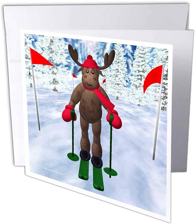 3dRosa gc_19362_2 Grußkarte Rentier Rentier Rentier Langlauf Langlauf Skifahren Skifahren, 15 x 15 cm, 12 Stück B07BJD9P5R | Perfekt In Verarbeitung  17466d