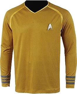 Men's Into Darkness Kirk Shirt Costume Halloween Uniform Yellow Cloth