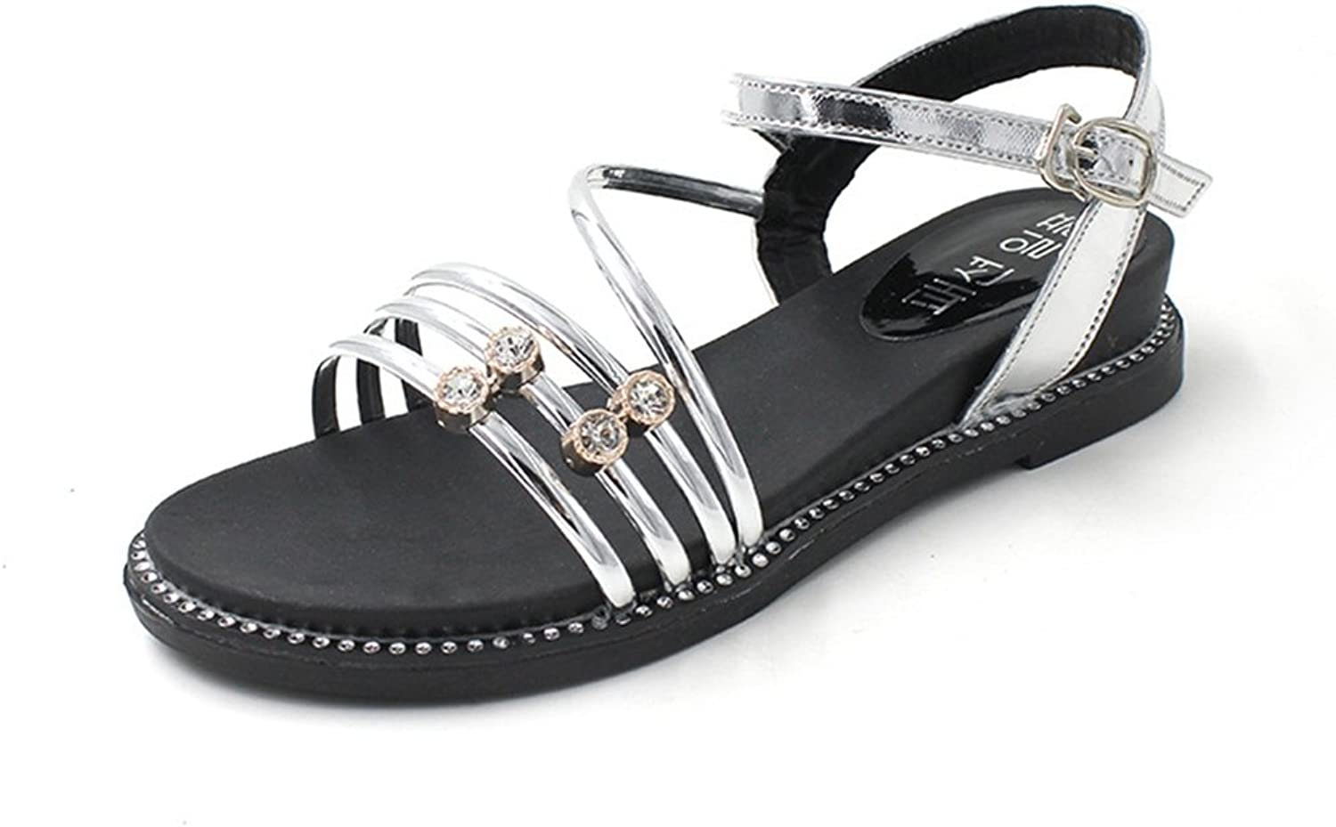 Sparkling Rhinestone Flat Sandals for Womens Fashion Summer Low Heels Ankle Strap Beach shoes