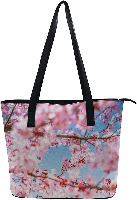 Beach Tote Bags Satchel Shoulder Bag For Women Lady Branch Of A Flourishing Sakura Tree Flowers Cherry Blossoms Spring Theme Art White Lightweight Hobo Bag