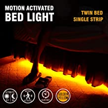 Emotionlite Motion Sensor Strip Lights for Twin Bed, Automatic ON/Off, 30~240 Seconds Sensor Time Adjustable, Golden Yellowish LED, Waterproof, Dustproof, Bedroom, Staris, Hallway, Cabinet, Closet