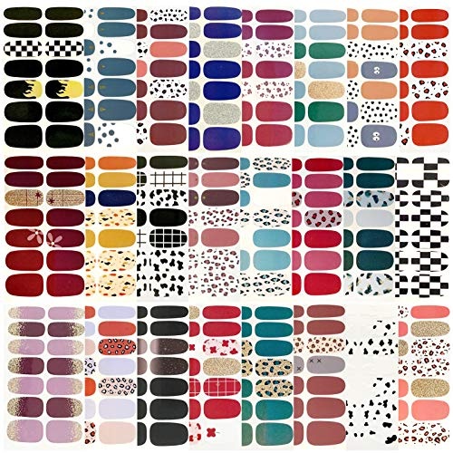24 Sheets Leopard Print Nail Stickers,Full Cover Nail Art Decals,Self-Adhesive Polish Wraps