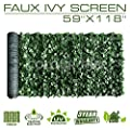 """ColourTree Artificial Hedges Faux Ivy Leaves Fence Privacy Screen Panels ?Decorative Trellis - Mesh Backing - 3 Years Full Warranty (59"""" x 118"""")"""