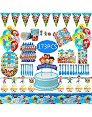 173 PCS/Set Cocomelon Birthday Party Supplies for 16 Guests Paper Cup Plate Tablecloth Baby Shower Disposable Tableware Kids Birthday Party Decorations Party Favors