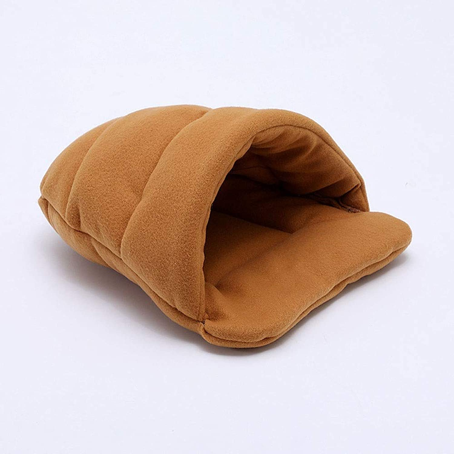 Oxltz Pet bed Pet Bed Soft And Comfortable Slippers Semiclosed Duvet Style Warmth Multicolor Small Pet Supplies pet fusion large bed (color   Brown, Size   M)
