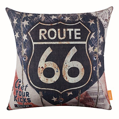 LINKWELL 18'x18' Vintage Rusted Look Car Plate Route 66 for Man Cave Throw Pillow Cover Brand Cushion Cover (CC1115)