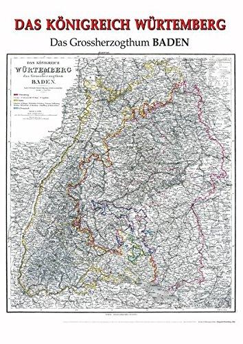 Historische Karte: Königreich Würtemberg [Württemberg], 1864 (plano): Mit dem Großherzogtum Baden