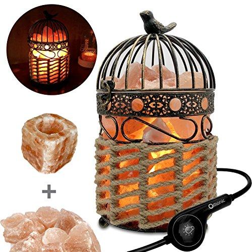 Omonic 3-5 kg lampe de sel de l'Himalaya lampe Himalayenne de chevet, lampe de table de table en cristal avec cage à oiseau Vintage panier de lanterne et 1 ensemble de bougeoir de sel, 2 ampoules