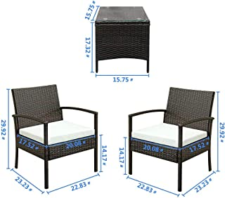 AK Energy 3 PCS Rattan Patio Furniture Set Garden Lawn Armrest Chair Cushioned Seat Square Coffee Table