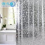 ShowPower Nr.1021 Duschvorhang 3D Steinmuster, PVC Wasserdicht, Halb-transparent Klar, Anti Schimmel, 200 x 180cm, Bad Vorhang für Badezimmer
