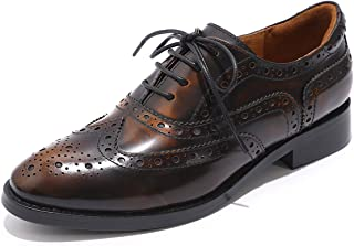 Mona flying Women`s Leather Perforated Lace-up Oxfords Brogue Wingtip Derby Saddle Shoes for Girls ladis Women