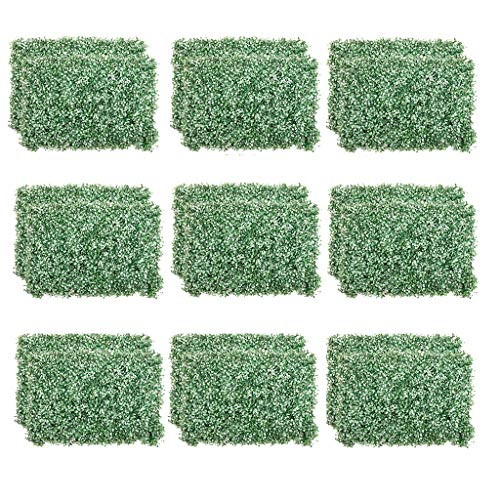 PING- 18 Pieces Of 40x60cm Artificial Hedge Panels, Privacy Screen Plant Board Can Be Trimmed For Background Decoration Of Mall Shops Pink, White Green (Color : White green)