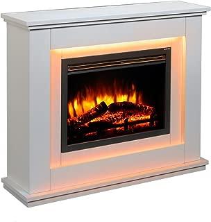 Chimenea eléctrica Castleton Suite de vidrio frente a fuego