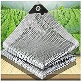 70% Reflectante Paño de Sombra Rectangular Tela de Sombrade del Papel de Aluminio Malla Sombreadora de Jardín Aislamiento Térmico Fácil de Colgar para Césped, Piscina, Pla(Size:1.5×4m/5×13ft,Color:EN)
