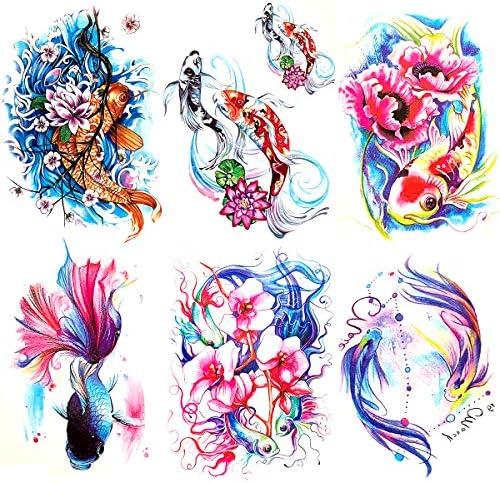 Oottati 6 Pieces Large Arm Watercolor Fish Pisces Lotus Koi Carp Blue Pink Flower Goldfish Temporary product image