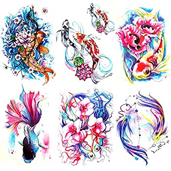 Oottati 6 Pieces Large Arm Watercolor Fish Pisces Lotus Koi Carp Blue Pink Flower Goldfish Temporary Tattoo
