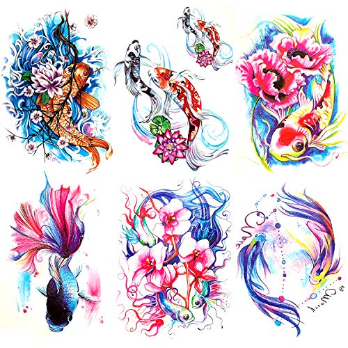 Oottati 6 Pieces Large Arm Watercolor Fish Pisces Lotus Koi Carp Blue Pink Flower Goldfish Temporary Tattoo